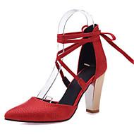 נשים-עקבים-חומרים בהתאמה אישית דמוי עור-חדשני שפיץ ושני חלקים נעלי מועדון-שחור אדום לבן בז'-חתונה שמלה מסיבה וערב-עקב עבה