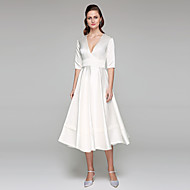 2017 Lanting Bride® A-line Wedding Dress - Chic & Modern Open Back Tea-length V-neck Satin with Sash / Ribbon