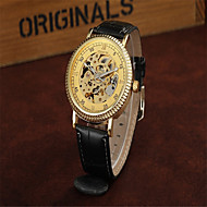 Men's Dress Watch Skeleton Watch Fashion Watch Mechanical Watch Automatic self-winding Leather Band Charm Casual Black Brown