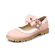 Fladsko-PU-Flower Girl Shoes-Dame-Sort Rosa Rød-Fritid-Lav hæl