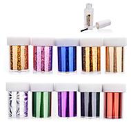 Sažetak - 3D Nail Naljepnice - za Prst / nožni prst - 4cmX120cm each piece - 10pcs nail foils + 1pcs nail foil glue kom. - PVC