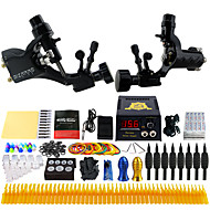 Complete Tattoo Kit 2 Pro Tattoo Machine s 54 Inks Power Supply Foot Pedal Needles Grips Tips TK255