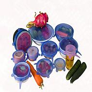 6pcs / σετ καπάκι καθολική Saran σιλικόνη καπάκι κατσαρόλα φαγητό τέντωμα σιλικόνης τηγάνι κενό κουζίνα σφραγιστικό καπάκι τυχαίο χρώμα