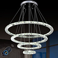 Dimmable LED Crystal Chandeliers Lights Remote Control Pendant Lamp Fixtures with 4 Ring D90705030 CE&UL&FCC