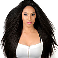 High Quality Yaki Straight Human Virgin Hair Wigs Kinky Straight With Baby Hair Glueless Full Lace Wigs For Black Woman Medium Brown Lace Cap