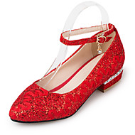 Flache Schuhe-Büro Kleid Party & Festivität-Kunststoff-Flacher Absatz-Club-Schuhe-Rot Weiß