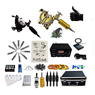 Complete Tattoo Kit 1 steel machine liner & shader 1 alloy machine liner & shader 2 Tattoo Machines LED power supplyInks Shipped
