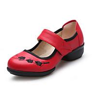 Chaussures de danse(Noir Rouge Blanc) -Non Personnalisables-Talon Bas-Cuir-Latines Jazz Baskets de Danse Claquettes Modernes Chaussures