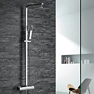 עכשווי ארט דקו / רטרו מודרני מערכת למקלחת תרמוסטטי מקלחת גשם שפורפרת יד כלולה with  שסתום פליז שתי ידיות שני חורים for  כרום , ברז למקלחת