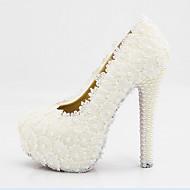 Podpatky-Hedvábí-Pohodlné Novinky-Dámské-Bílá-Svatba Party-Vysoký Platformy Podpatek zdobený šperky