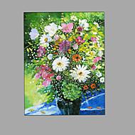 Ručně malované Zátiší Květinový/Botanický motiv Vertikálně,Moderní Pastýřský Jeden panel Plátno Hang-malované olejomalba For Home dekorace