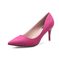 Feminino-Saltos-Conforto-Salto Agulha-Preto Cinzento Fúcsia Rosa claro-Camurça-Social