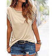 Women's Casual/Daily Holiday Simple Cute Summer Shirt,Solid Round Neck Short Sleeve Beige Black Green Cotton Medium