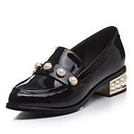 Feminino-Saltos-Sapatos clube-Salto Grosso-Preto Amarelo-Couro Envernizado-Escritório & Trabalho Social Casual