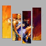 Ručně malované Abstraktní Lidé Horizontálně,Moderní evropský styl Čtyři panely Plátno Hang-malované olejomalba For Home dekorace