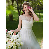 A-line Wedding Dress See-Through Sweep / Brush Train Scoop Lace Tulle with Appliques Beading