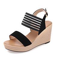 Damen Sandalen Komfort Wildleder Sommer Normal Walking Komfort Schnalle Keilabsatz Schwarz Mandelfarben 7,5 - 9,5 cm