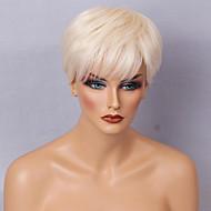 peruca scurt-diy păr pufos off-alb peruci păr drept păr uman fără carcasă separată pentru femei elegante