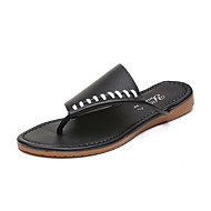 Sandały-Damskie-Comfort-Płaski oncas-White Black Beige-PU-Formalne spotkania Casual