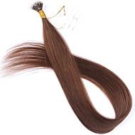 Цвет # 6 каштановый нано кончик наращивание волос 10a волос Remy бразильянина кератина слитые человеческих волос новый нано волос