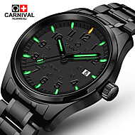 Carnival Male watch waterproof super bright tritium gas blue green luminous Outdoor mens business analg black quartz Watches