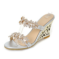 Women's Sandals Slingback Synthetic Summer Fall Dress Casual Rhinestone Wedge Heel Gold Silver 3in-3 3/4in