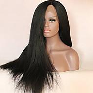 פאות טבעיות סינטטי חזית תחרה פאות ארוך שחור שיער