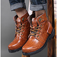 Men's Boots T-Strap Rubber Summer Casual T-Strap Low Heel Brown Flat
