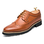 Men's Shoes Leather Spring Fall Comfort Gladiator Bullock shoes Formal Shoes Oxfords Stitching Lace Lace-up For Wedding Office & Career