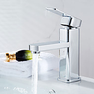 Contemporary Modern Centerset Widespread with  Ceramic Valve Single Handle One Hole for  Chrome , Bathroom Sink Faucet