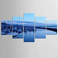 Taideprintit Abstraktit maisemakuvat Moderni Välimeren,5 paneeli Kanvas Mikä tahansa muoto Tulosta Art Wall Decor For Kodinsisustus