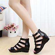 Kadın Sandaletler Geniş Bantlı PU Yaz Günlük Geniş Bantlı Dolgu Topuk Siyah Düz