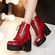Для женщин Ботинки Удобная обувь Армейские ботинки Полиуретан Зима Повседневные Удобная обувь Армейские ботинкиНа толстом каблуке Блочная