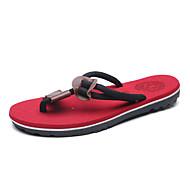 Herre-PU-Flat hæl-Komfort-Sandaler-Fritid-Svart Brun Rød