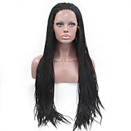 Mulher Perucas sintéticas Frente de Malha Longo Liso Preto Riscas Naturais Perucas Trançadas Tranças Africanas Peruca Afro Americanas