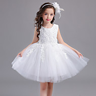 Ball Gown Short / Mini Flower Girl Dress - Lace Satin Tulle Jewel with Appliques Bow(s)