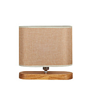 Contemporary Fabric Table Lamp And Woodbase