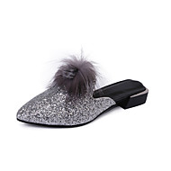 Women's Slippers & Flip-Flops Summer Comfort Patent Leather Casual Flat Heel Sequin Pom-pom Walking