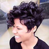 Femme Perruques capless à cheveux humains Noir Marron Blanc Court Frisés Coupe Lutin Coupe Dégradée Avec Frange Perruque afro-américaine