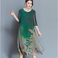 Işareti ipek elbise high-end bahar yeni kadın büyük yarda gevşek% 100 ipek baskı elbise ince