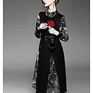 Damen A-Linie Kleid-Ausgehen Einfach Galaxis Rundhalsausschnitt Asymmetrisch Langarm Baumwolle Kunstseide Polyester Frühling HerbstTiefe