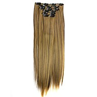 Synthetic Hair 130g  with Clips 16 Clip in Hair Extensions False Hair Hairpieces Straight Hair 58cm Long Straight Apply Hairpiece  D1014 4H27#