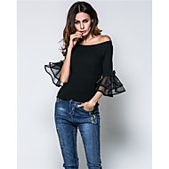 Women's Lace|Ruffle Going out Sexy Summer T-shirt,Solid Off Shoulder ½ Length Sleeve Rayon Medium