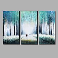 Hånd-malede Abstrakt Horisontal,Moderne Tre Paneler Kanvas Hang-Painted Oliemaleri For Hjem Dekoration