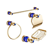 Contemporary Blue Diamonds Gold Brass 4PCS Bathroom Accessory Set  Towel Bar Towel Ring Soap Holder Paper Holder