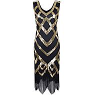 Cocktailparty Jurk - Sexy Glitter & Sprankel Strak/kolom V-hals Asymmetrisch Polyester met Pailletten