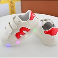 Tyttöjen Vauvat kengät PU Kevät Syksy Comfort Tasapohjakengät Käyttötarkoitus Kausaliteetti Musta Punainen