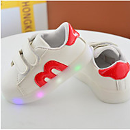 Jente Baby Flate sko Komfort PU Vår Høst Avslappet Komfort Flat hæl Svart Rød 2,5 - 4,5 cm