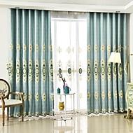 2パネル ウィンドウトリートメント 欧風 , フラワー ベッドルーム ポリエステル 材料 カーテンドレープ ホームデコレーション For 窓