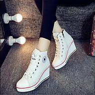 Dames Sneakers Lente Herfst Comfortabel Canvas Buiten Casual Sleehak Wit Zwart Rood